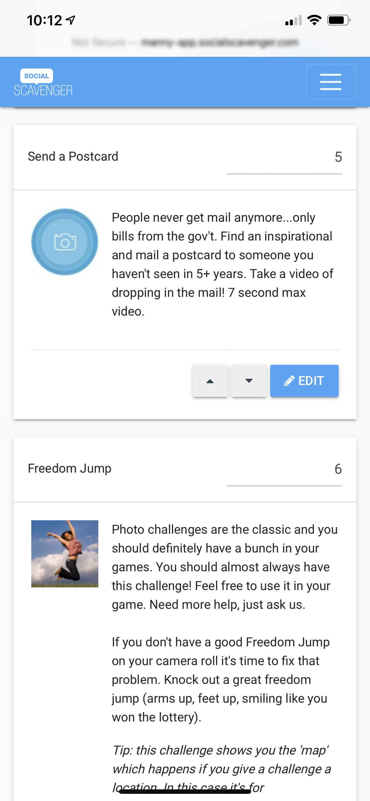 Social Scavenger App Edit Challenges