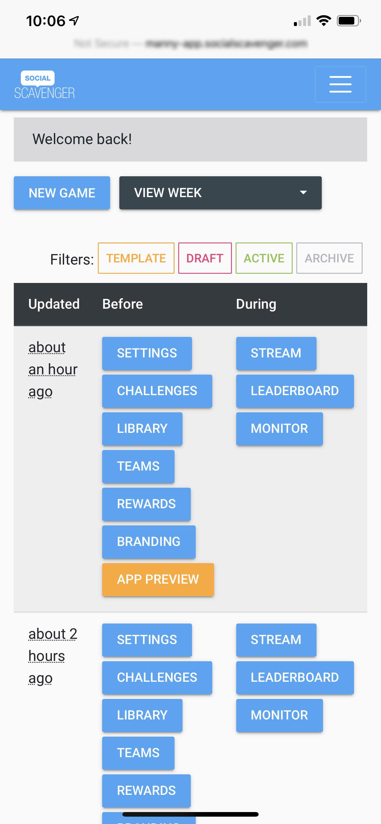 Social Scavenger App Dashboard