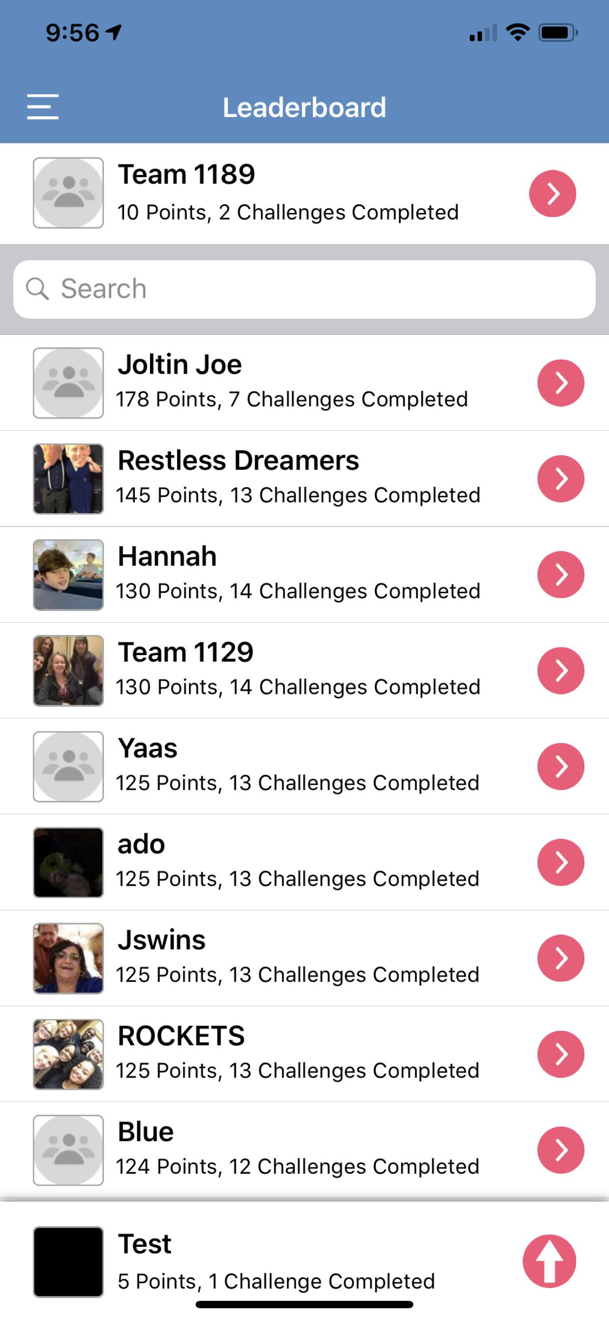Social Scavenger App Leaderboard