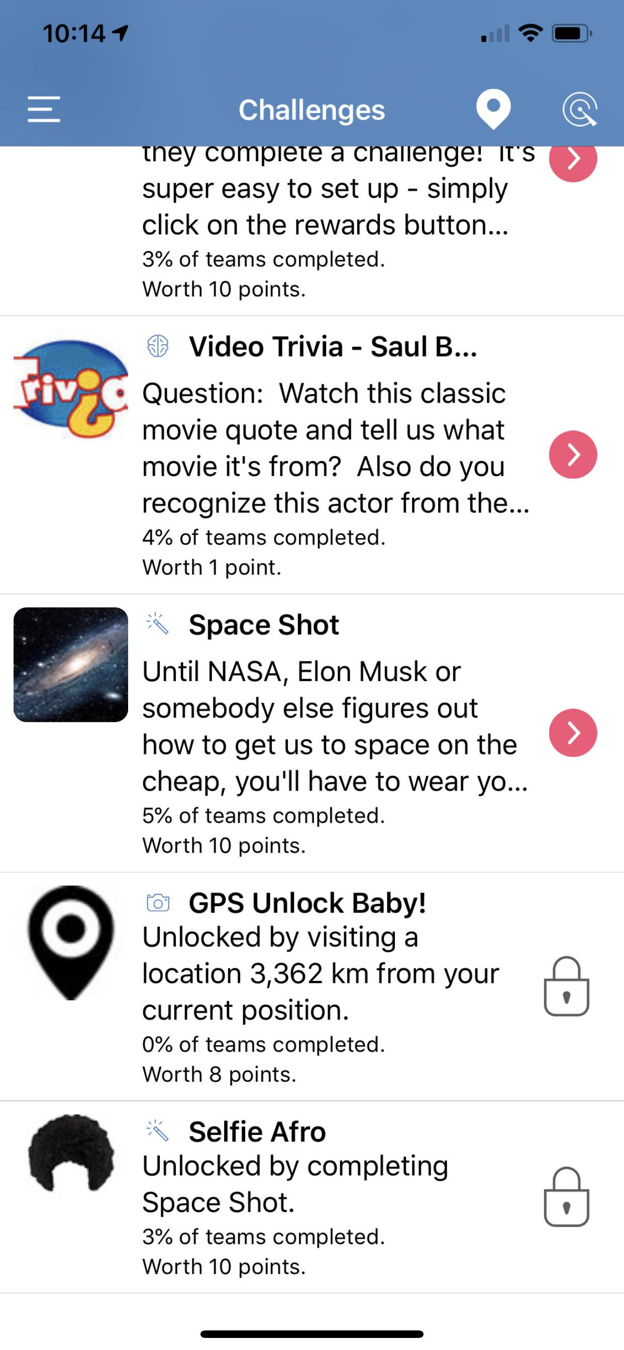 Social Scavenger App Locked to Challenge