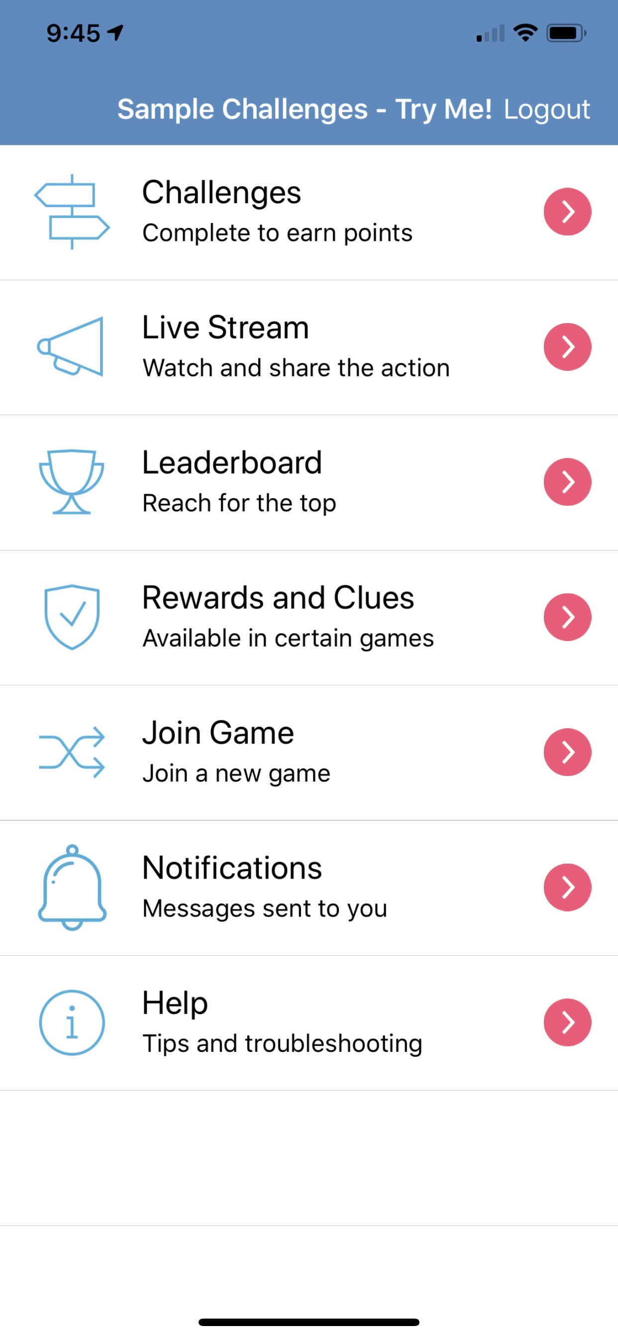 Social Scavenger App Menu