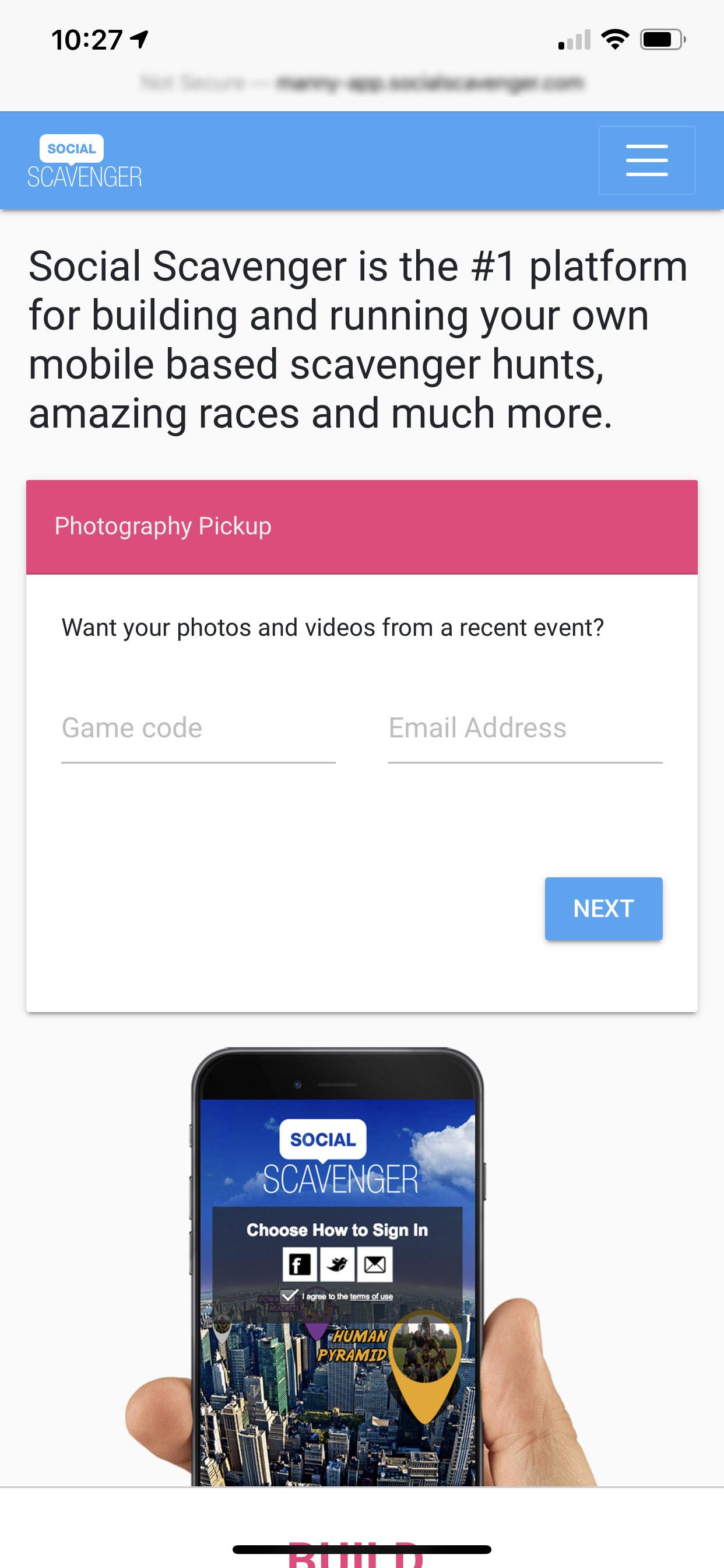 Social Scavenger App Photo Pickup